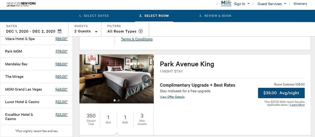 Resort fee las vegas New York New York